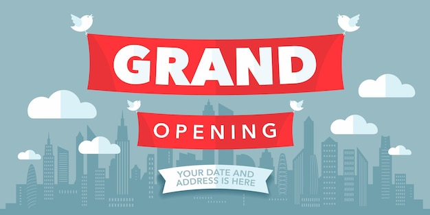Grand opening   with modern paper cutout sign. template banner for opening ceremony