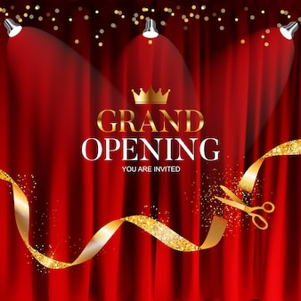 Grand opening   with ribbon and scissors background.