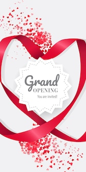 Grand opening you are invited lettering in geometric frame