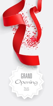 Grand opening you are invited lettering with red ribbons