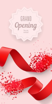 Grand opening you are invited lettering with ribbons and hearts