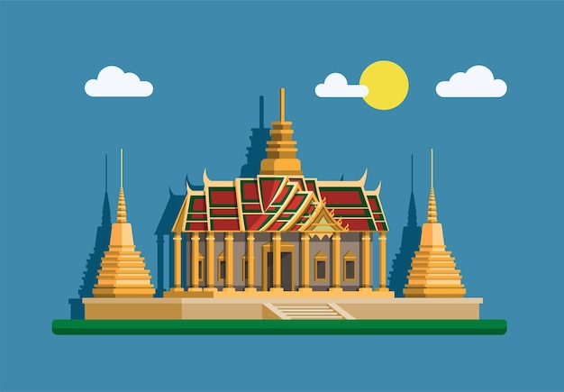 Большой дворец золотая пагода. бангкок, таиланд достопримечательность концепции здания в плоском стиле