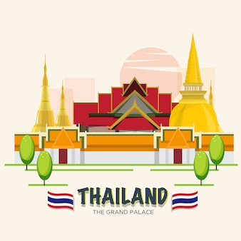 The grand palace. landmark of bangkok, thailand. asean set.