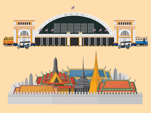 The grand palace and train station in bangkok