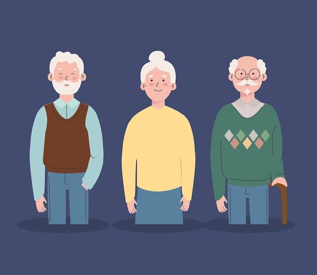 서있는 조부모