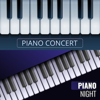 Grand piano banner set, cartoon style