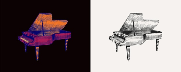 Grand piano in monochrome engraved vintage style hand drawn sketch musical jazz classical keyboard