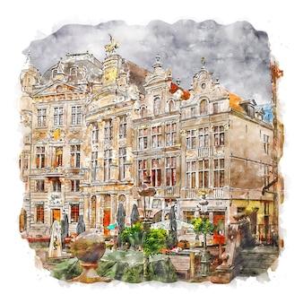 グランプラスベルギー水彩スケッチ手描きイラスト