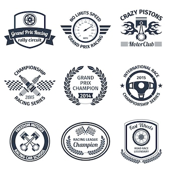 Grand prix racing crazy pistons motorclub black emblems set isolated vector illustration