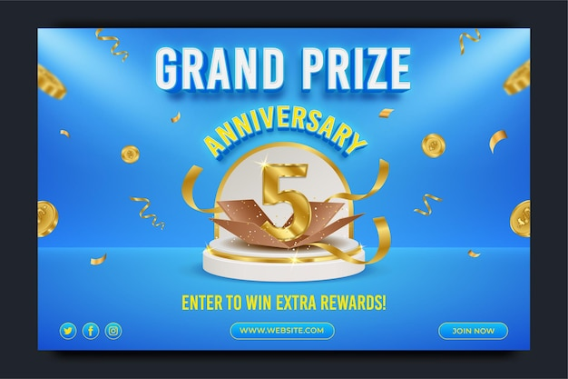 Grand prize anniversary horizontal banner template with editable text effect