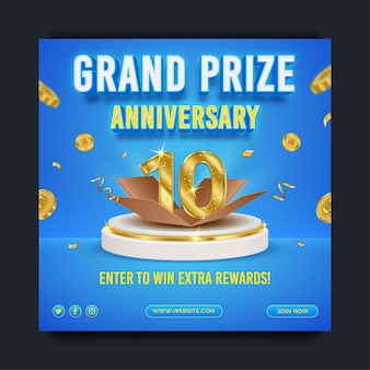 Grand prize anniversary social media banner template with editable text effect