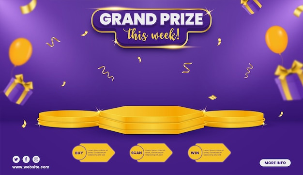 Grand prize contest horizontal banner template with balloons and gift box