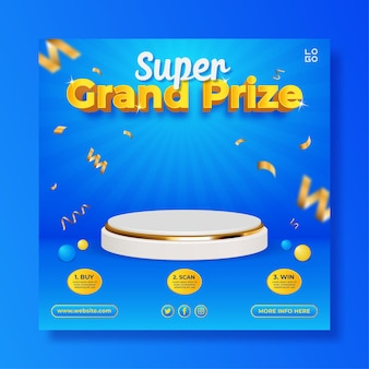 Grand prize contest square banner template with podium