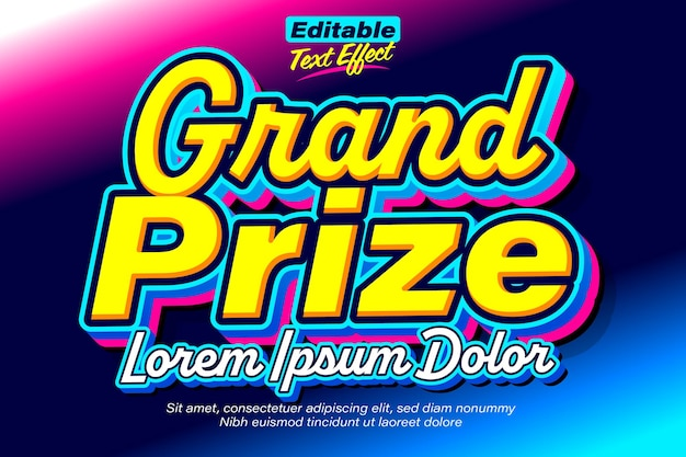 Grand prize cool vibrant award text effect