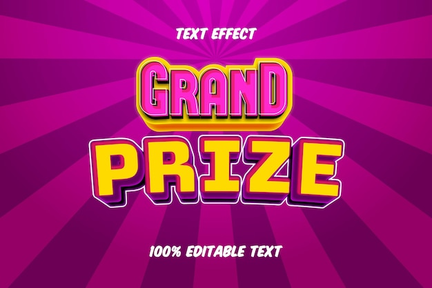 Grand prize editable text effect