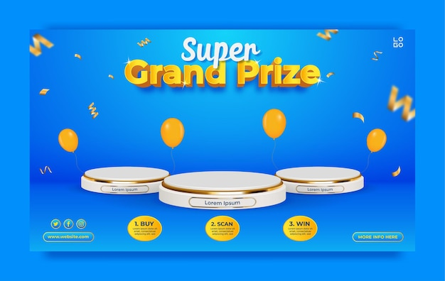 Grand prize horizontal banner template with podium