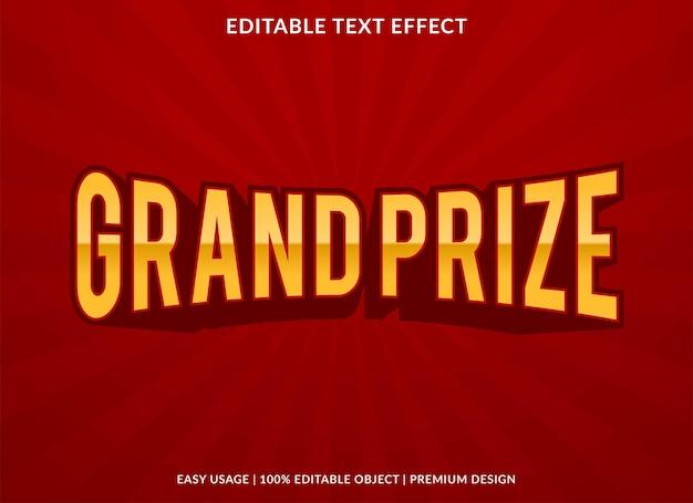 Главный приз шаблон текстового эффекта премиум стиль