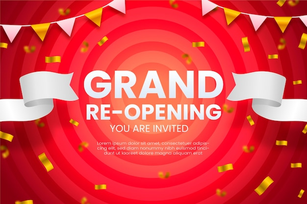 Grand re-opening background inviting customers