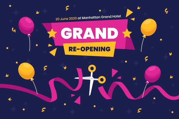 Grand re-opening background scissors and balloons