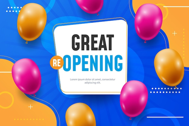 Grand re-opening background with balloons