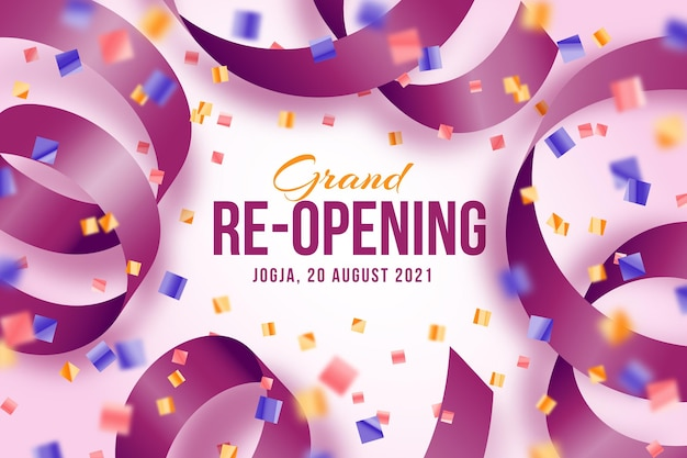Grand re-opening background with confetti and ribbon