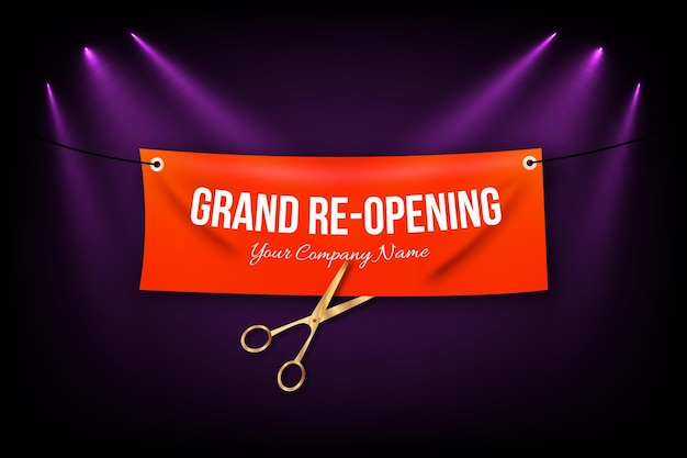 Grand re-opening background with scissors and garland