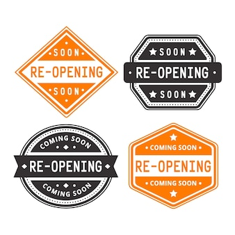 Grand re-opening badge set theme