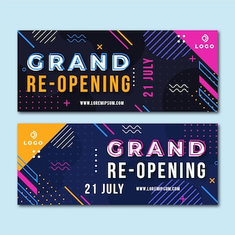Grand re-opening banner set