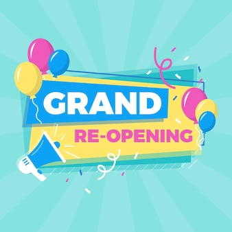 Grand re-opening banner template with balloons