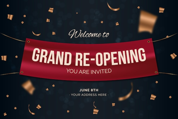Grand re-opening banner with confetti