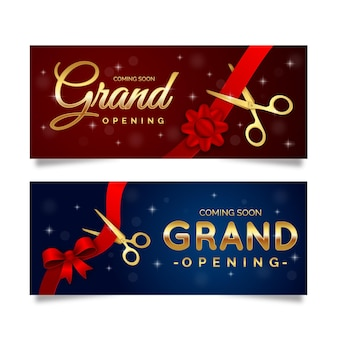 Grand re-opening banner with scissors and bow