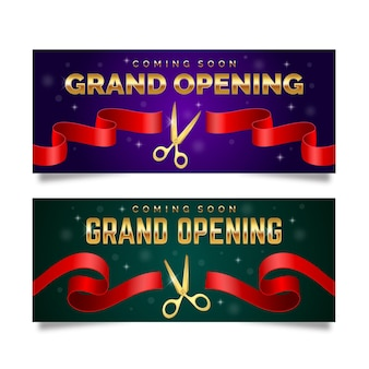 Grand re-opening banner with scissors and ribbon