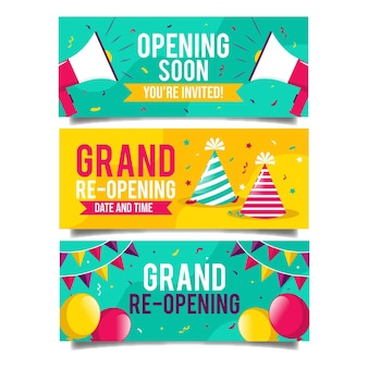 Grand re-opening banners with balloons and party hat