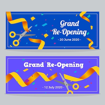 Grand re-opening banners with golden ribbons Free Vector