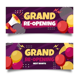 Grand re-opening banners with megaphone
