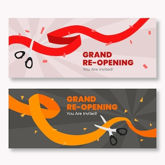Grand re-opening banners with ribbon and scissors