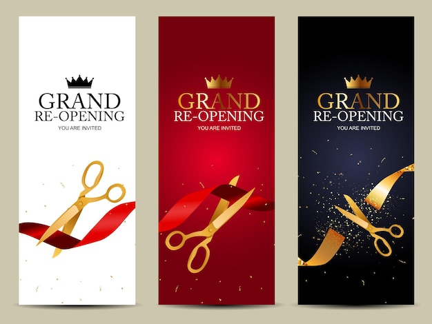 Grand re-opening   business Premium Vector