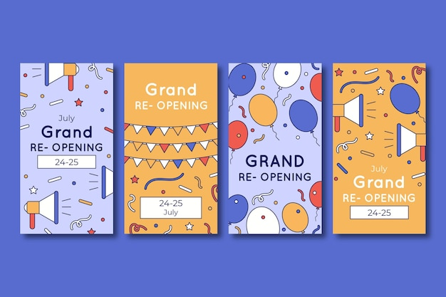 Grand re-opening instagram stories collection