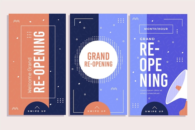 Grand re-opening instagram stories concept
