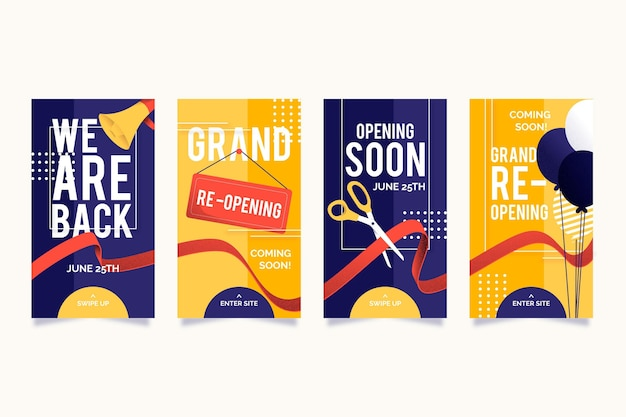 Grand re-opening instagram stories pack