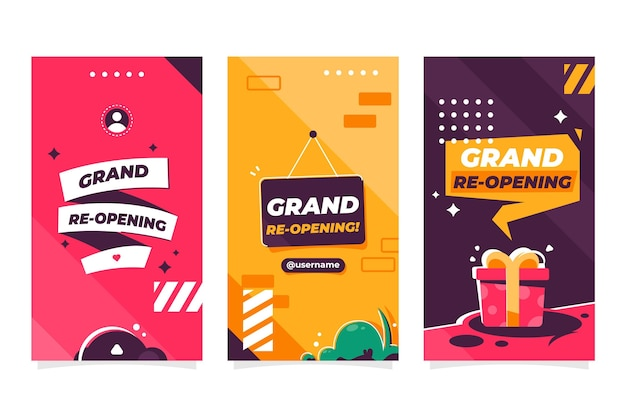 Grand re-opening instagram stories template