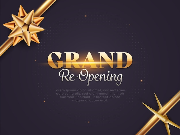 Grand re-opening invitation poster layout with golden flower ribbon and scissor on dark puprle background.