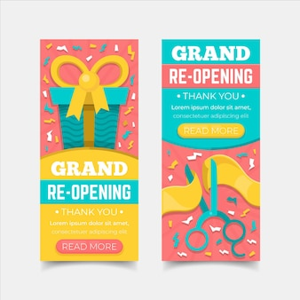 Grand re-opening soon banner concept