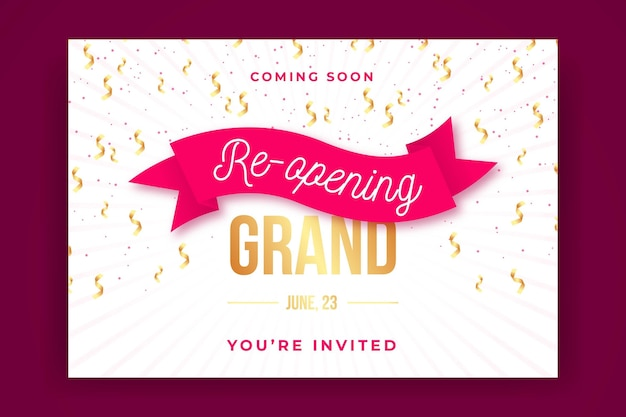 Grand re-opening with ribbon banner template