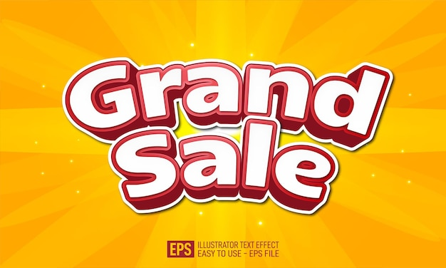 Grand sale 3d text editable style effect template