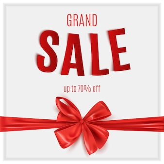 Grand sale advertisement with red decorative ribbon bow, realistic  illustration