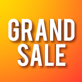 Grand sale banner text with 3d effect