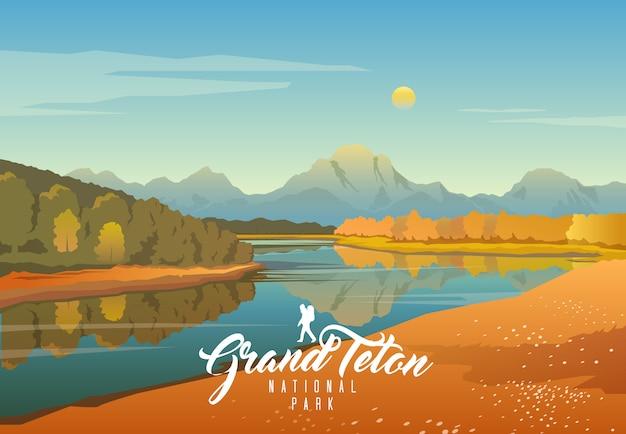 Grand teton national park. nature of wyoming. moran.