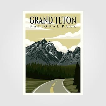 グランドティトン国立公園のビンテージポスターイラストデザイン、旅行ポスターデザイン