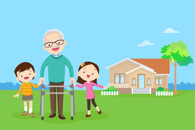 Grandchild helps grandfather to go to the walker boy and girl  help grandfather to go to the walker
